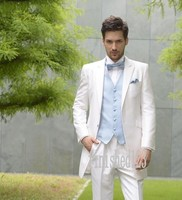 Fashionable Two Button Ivory Groom Tuxedos Groomsmen Men's Wedding Prom Suits Custom Made (Jacket+Pants+Vest+Tie) K:36