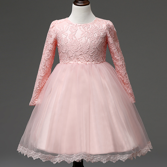 7276656b4cce9 Fashion New Kids Wedding Dresses For Girl Summer Long Sleeve Lace Baby  Girls Wedding Clothes Princess Party Dress 3 to 7 Years-in Dresses from  Mother ...