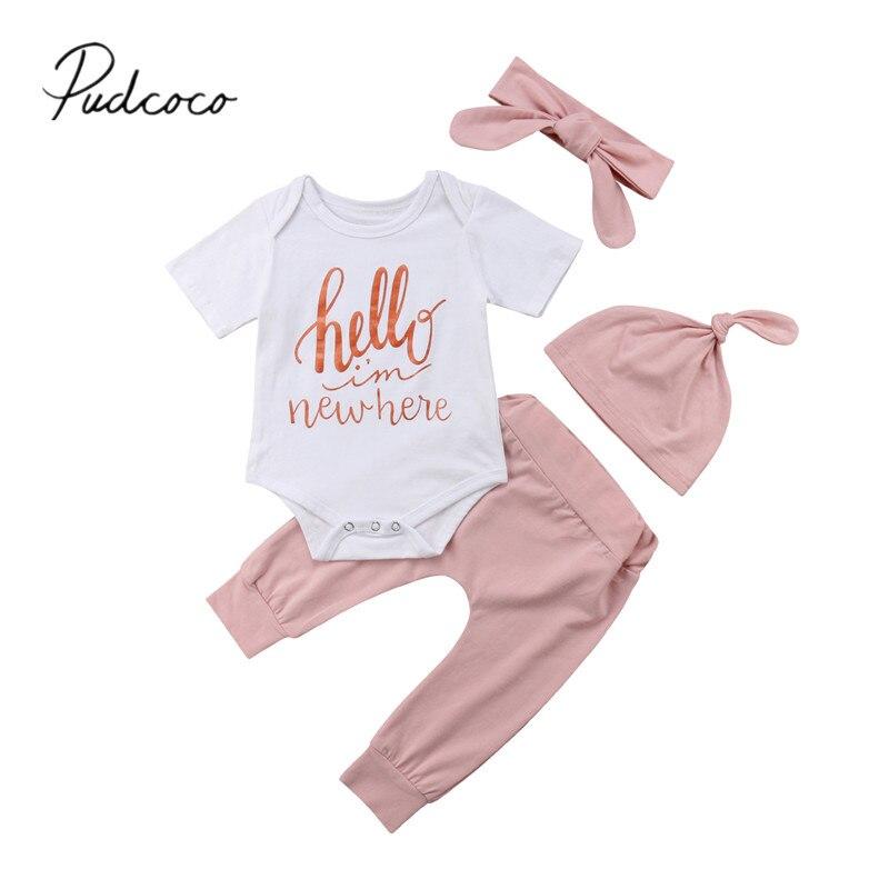 2018 Brand New Newborn Infant Baby Girls Pretty Lovely Sets 4PCS Short Sleeve Letter White Romper Tops+Pink Pants+Headband+Hats