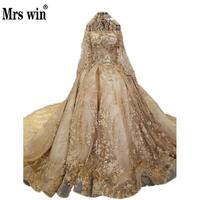 New Arrive Gold Luxury Tail Wedding Dresses Princess Luxury Boat Neck Half Sleeve Embroidery Bridal Marriage