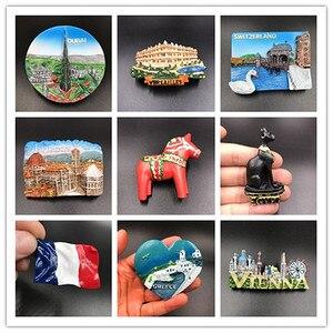 Image 1 - 1Pcs מקרר מגנט מדבקת Creative דובאי ורסאי יוון וינה תיירות מזכרות מקרר מדבקות לעיצוב בית