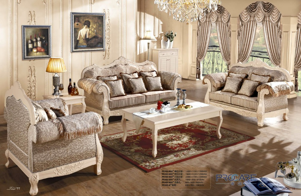 European Royal Style Brown Sofa Set Living Room Furniture