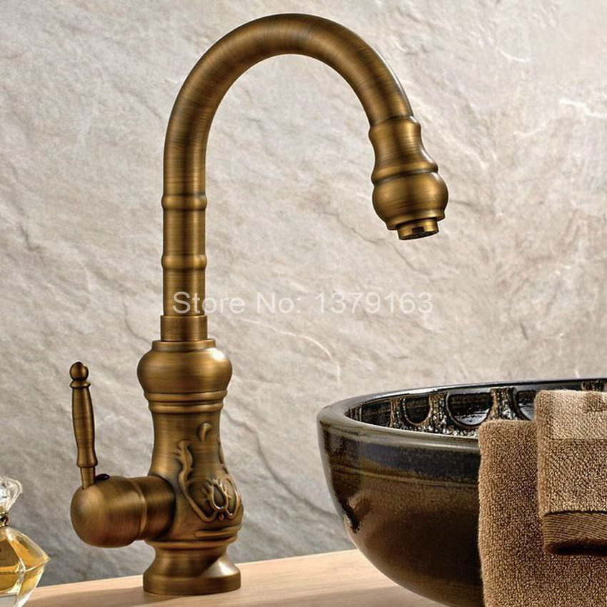 Antique Brass Single Handle Swivel Bathroom Kitchen Sink Vessel Sink Faucet Basin Mixer Taps asf001 antique brass dual cross handles swivel kitchen bathroom sink basin faucet mixer taps anf003
