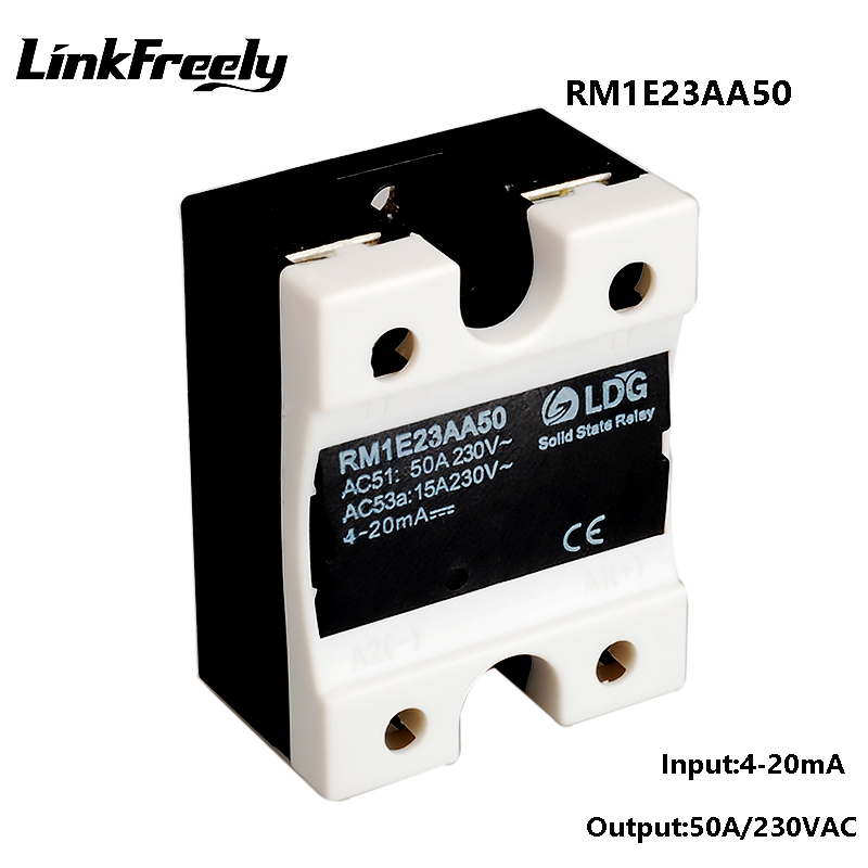 RM1E23AA50 Single Phase AC Solid State Relay Industrial Analog Switching SSR 50A 24 280VAC Isolation Voltage