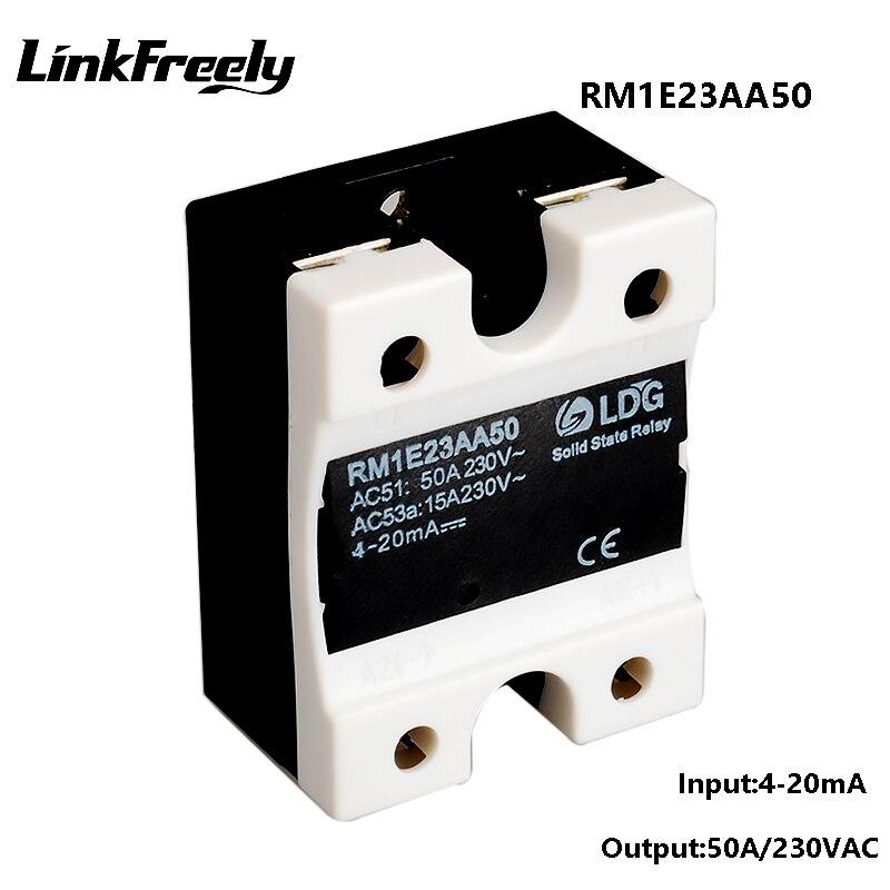 Relais à semi-conducteurs ca monophasé RM1E23AA50, commutation analogique industrielle SSR 50A/24-280VAC, relais de régulateur de tension d'isolement