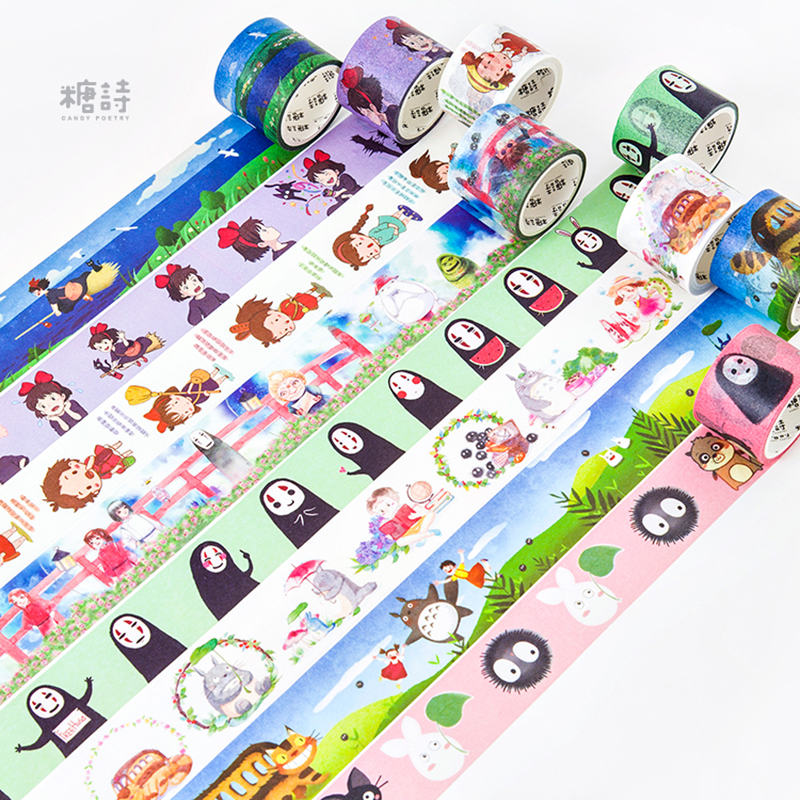 Cute Kawaii Japanese Cartoon Characters Decorative Adhesive Tape Washi Tape DIY Scrapbooking Masking Tape School Office Supply colorful gilding hot silver alice totoro decorative washi tape diy scrapbooking masking craft tape school office supply