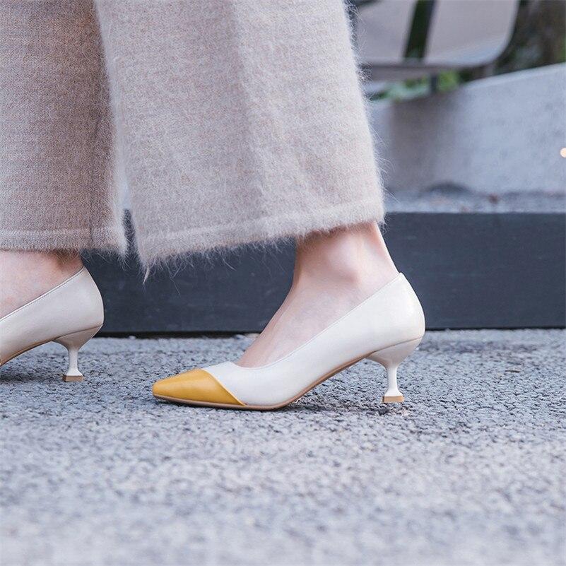 Beige Chaussures Pointu Fedonas Pompes Bureau Femmes New De Véritable Bout Noce Talons Sexy Hauts Patchwork Femme Cuir Concise noir SAWPBAF
