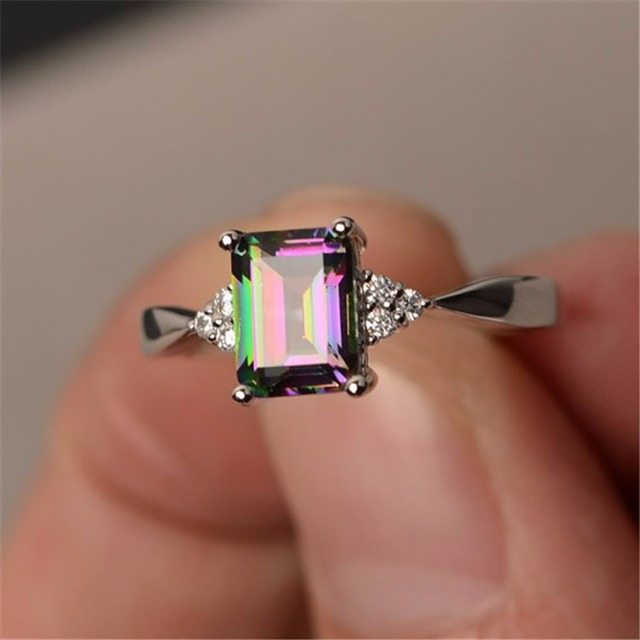 Exquisite Women's Silver Ring Princess Cut Rainbow Square Crystal Rhinestones En