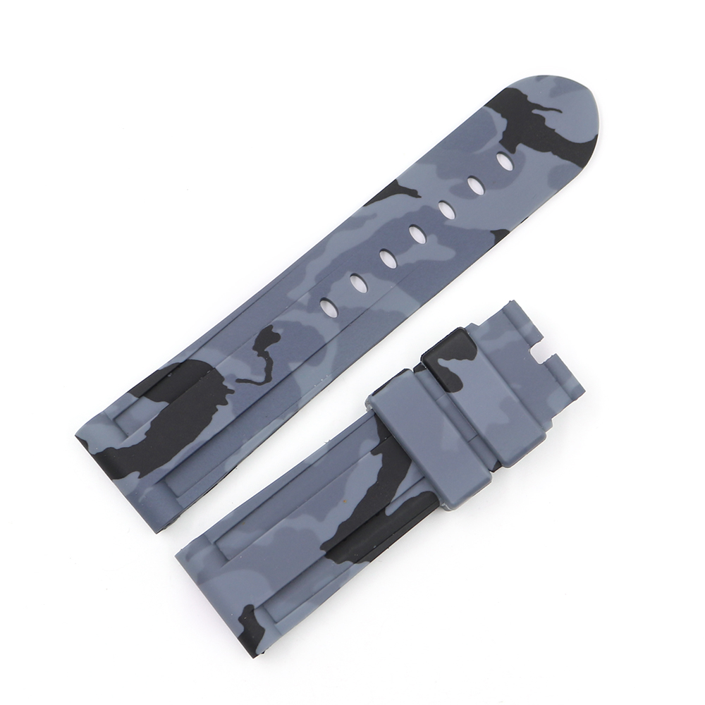 CARLYWET 22 24mm Camo Red Black Grey Waterproof Silicone Rubber Replacement Watch Band Loops Strap For Panerai Luminor