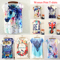 Camisetas Mujer Summer Style 2015 New Women Horse Ink Printing O-Neck Tshirts Bat Sleeve T-shirt Women Free Shipping TS-048