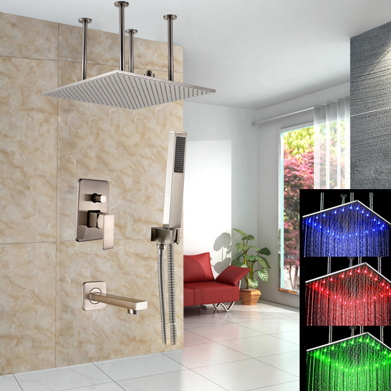 Nickel Brushed Ceiling Mounted Shower Mixer Water Taps with 20 Brass Color Changing Shower Head