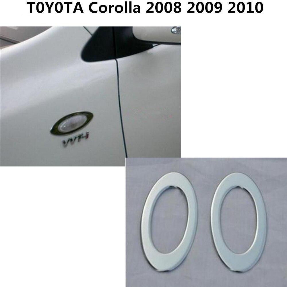 High quality for Toyota Corolla 2008-2013 ABS chrome side Fender Side Light Logo Wing Sequins vent Shark panel trim stick 2pcs