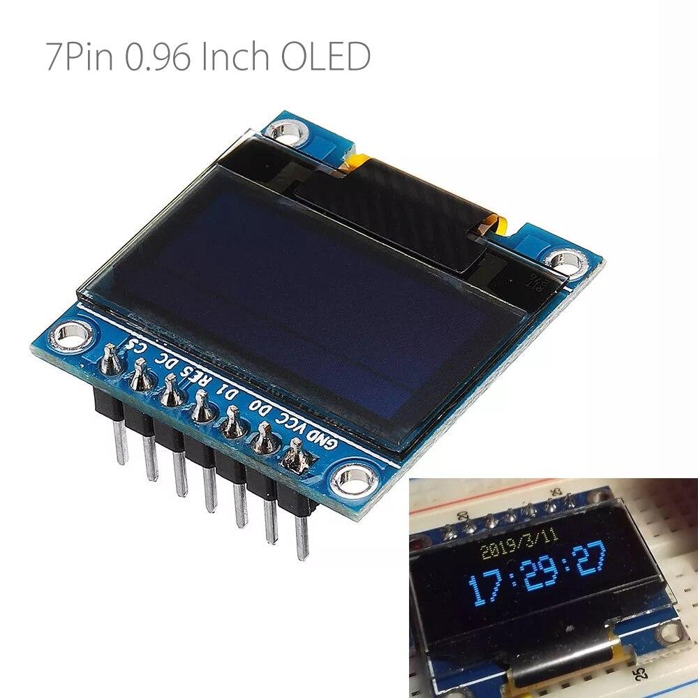Pantalla OLED de 7 pines de 0,96 pulgadas, SSD1306, SPI, IIC, módulo de pantalla LCD de serie para Arduino, 12864