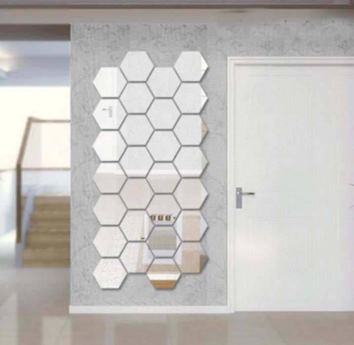 3D DIY Mirror Wall Sticker 7pcs Honeycomb Crystal Mirror Stickers  Reflective Decal for Wall Adhesive Wallpaper