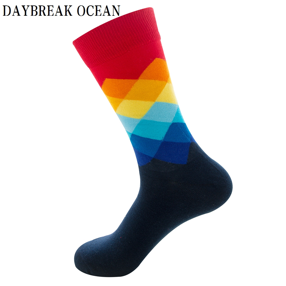 Plus Size Gradient Colorful Comfortable Combed Cotton Socks Men Casual Fashion Spring Autumn Crew Socks Funny Happy Men Socks
