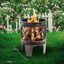 (Ship from EU) Outdoor Patio Fire Pit Home Garden Backyard Firepit Bowl Fireplace Fire Bowl