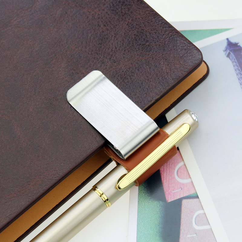 1Pcs/set Creative Custom Notebook Clip, Genuine Leather Notebook Notebook, Metal Pen Holder, Paper Folder