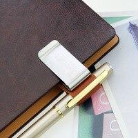 1 unids/set creativo personalizado clip para libreta genuino cuero notebook cuaderno pluma de metal titular de la carpeta de papel