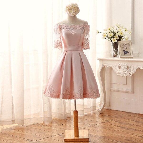 Pink see-through lace half sleeve Short Prom Party maxi robe de   cocktail     Dresses   Vestidos De abiye festa soireeBK