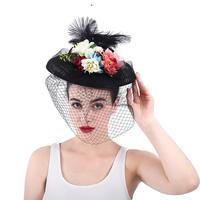 2019 Summer New Style Bridal Wedding Face Veil Lace Mesh Feather Colorful Flower Leaf Veil Handmade Romantic Wedding Headpie