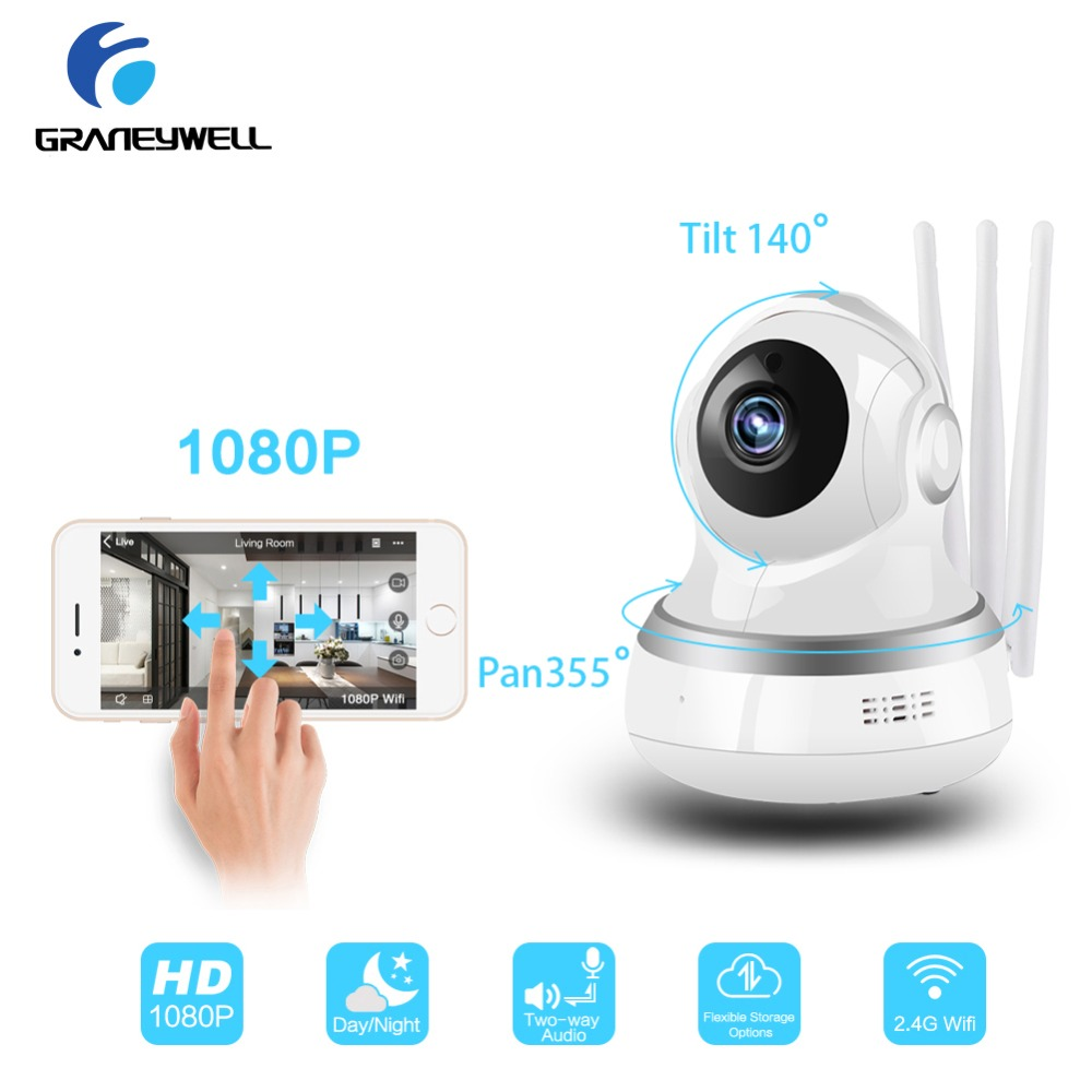 цена на 4 PCS Graneywell 1080P wi-fi IP Camera TF card RAM mini Camera 36 IR LEDs Baby Monitor Camara ip wifi Video Surveillance Cam
