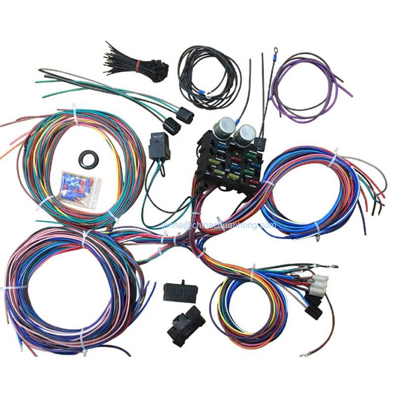 1 pc 12 circuit street hot rat rod custom universal color wiring harness kits xl wire labeling. Black Bedroom Furniture Sets. Home Design Ideas