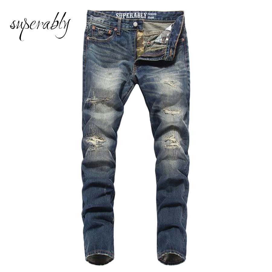 Superably Brand jeans men skinny high quality ripped jeans fashion design slim straight men denim trousers biker jeans U320 2017 fashion patch jeans men slim straight denim jeans ripped trousers new famous brand biker jeans logo mens zipper jeans 604