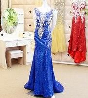 Custom Made Sexy 2015 New Fashion Mermaid Backless Sequins Crystal Beading Hijab Evening Dresses Royal Blue Dress XE53