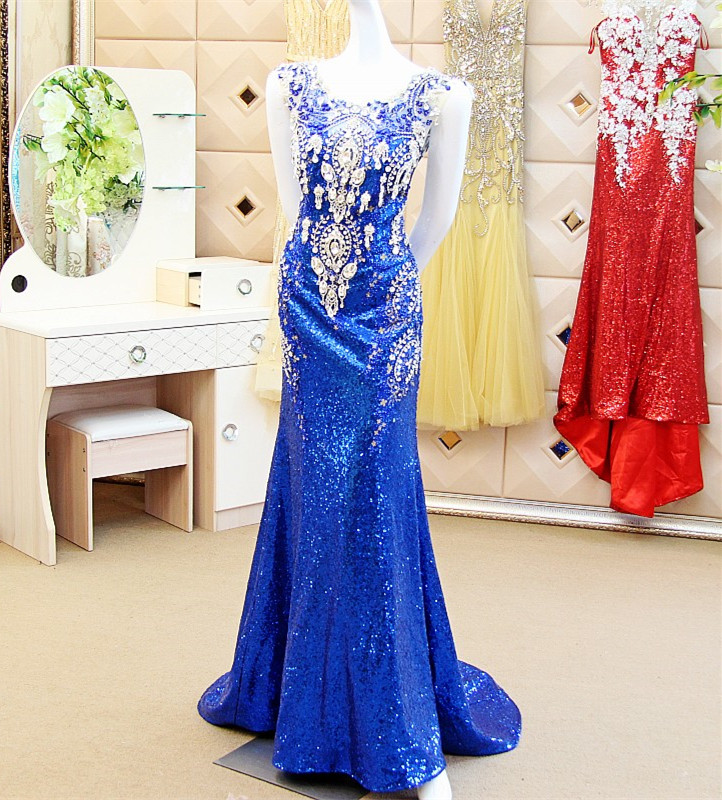 Custom Made Sexy 2015 New Fashion Mermaid Backless Sequins Crystal Beading Hijab   Evening     Dresses   Royal Blue   Dress   XE53