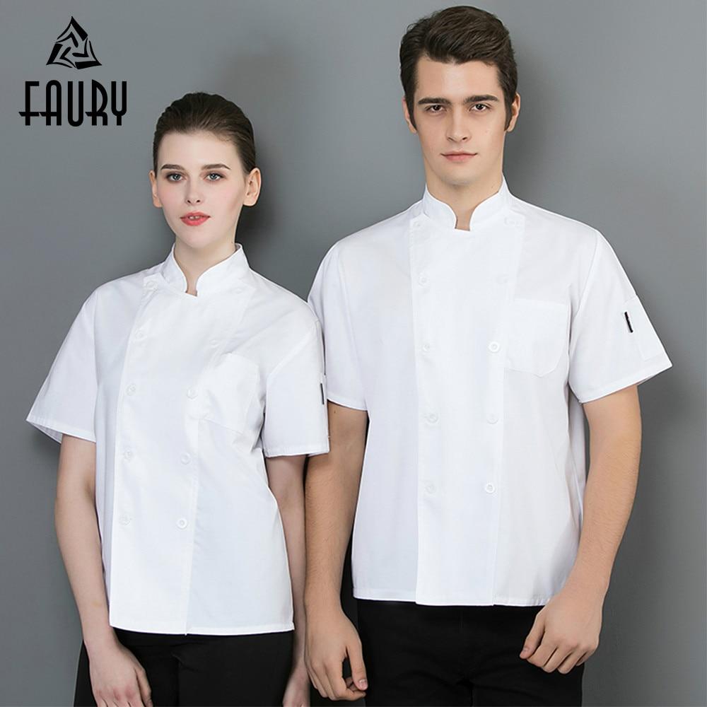 2019 Short Sleeve Chef Jacket Restaurant Uniforms White Cook Shirts Kitchen Hotel Sushi Uniform Barber Shop Bakery Work Coat