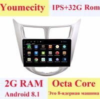 Youmecity 2G RAM Android 8.1 2 DIN Car DVD GPS for Hyundai Solaris 2011 2012 2014 2015 2016 head unit radio video player wifi