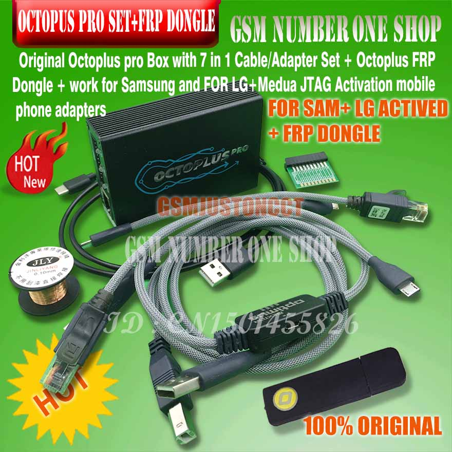 Octoplus pro caja de 9 en 1 Conjunto (activado para Samsung + LG + eMMC/JTAG + Octoplus FRP dongle + 5)