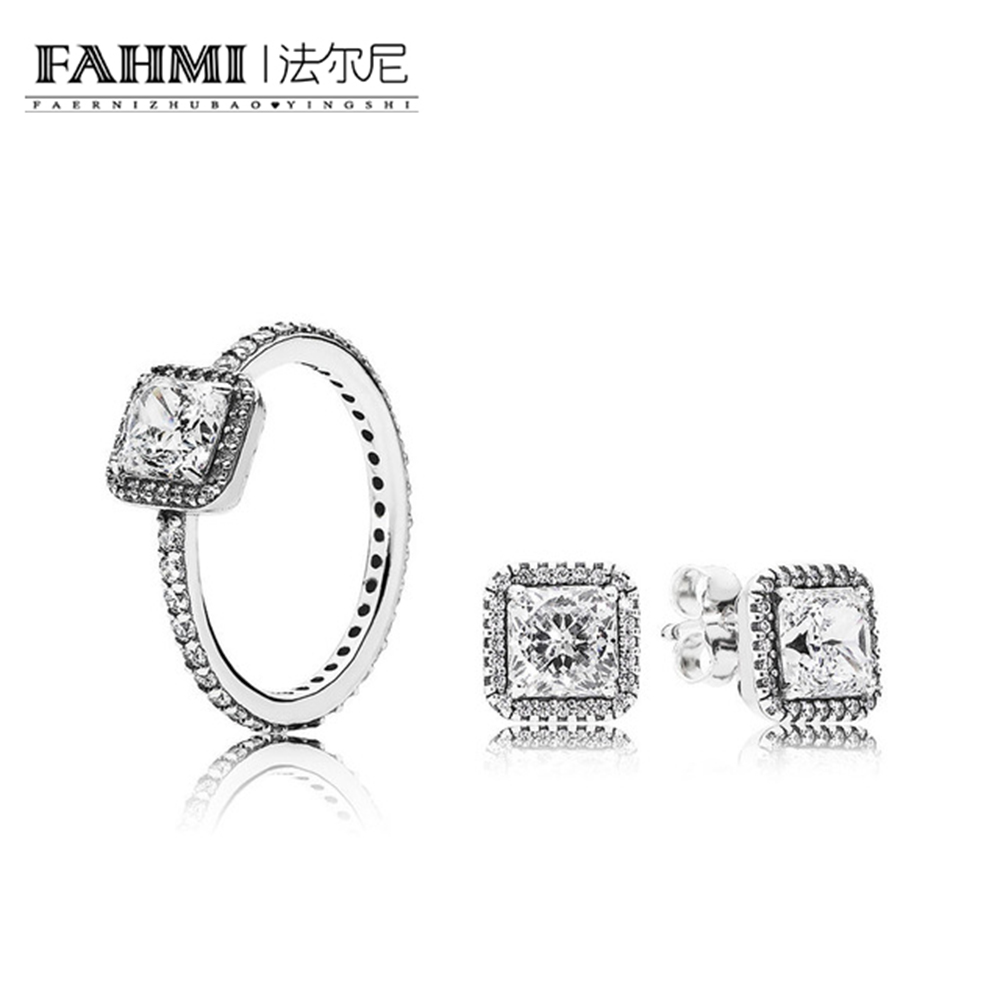FAHMI 2018 100% 925 Sterling Silver SALE - TIMELESS ELEGANCE White Diamond RING Charms rings Fit DIY Original Jewelry A Set