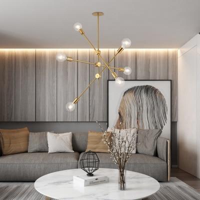 Brushed Brass sputnik chandelier lighting fixtures Home LED modern metal ceiling lights Nordic postmodern hanging Lamp lustre