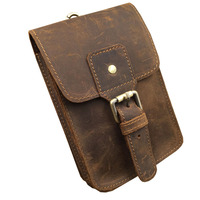 High Quality Crazy Horse Leather Waist Pack Phone Bag Belt Hook Travel Pouch Cover Genuine Leather