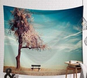Image 3 - Tapiz de escena de CAMMITEVER, tapiz de tela impresa, manta de pared fácil de limpiar, decoración del hogar, Lago de Fog Woods
