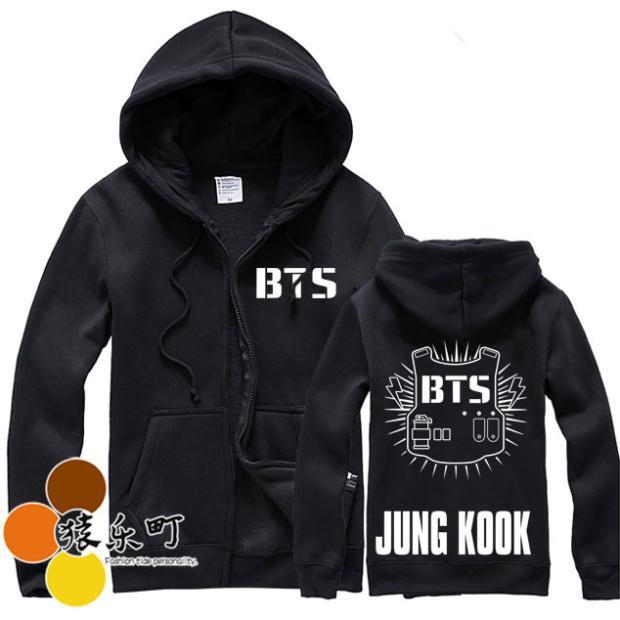 kpop BTS Bangtan Boys fall and winter plus velvet hooded zipper fleece jacket k-pop bts Hoodie Baseball clothes Sweatshirt Shirt