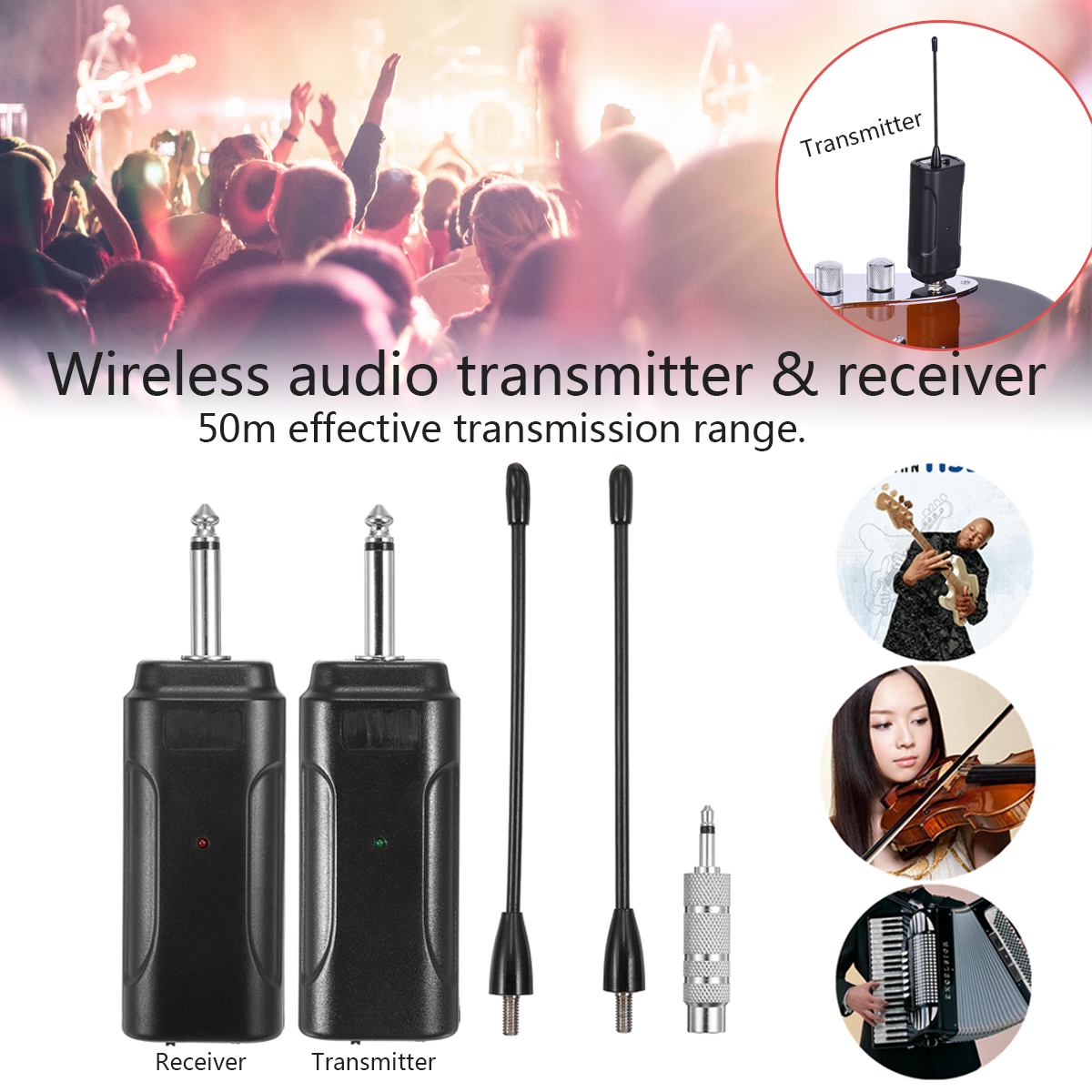Unterhaltungselektronik Initiative Multi-kanal Wireless Audio Transmitter Verstärker Receiver System Für Gitarre Schwarz Leichte E4v5 Instrumente Anti-jamming üBerlegene Leistung Funkadapter