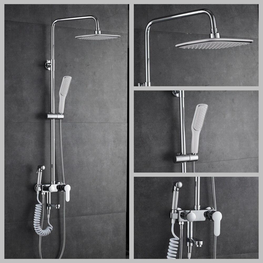 Adjustable Rain Shower Head.Us 89 42 28 Off Wall Mounted Rain Shower Set Luxury Square Shower Head Old And Hot Water Mixer Single Handle Adjustable Rain Shower Bar 84070607 In