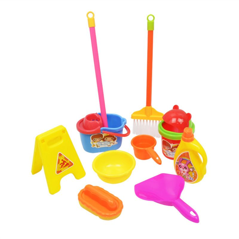 Children Cleaning Toys Simulation Mini Broom Mop Dustpan Barrel Kids Household Cosplay Plastic Tool Educational Toys