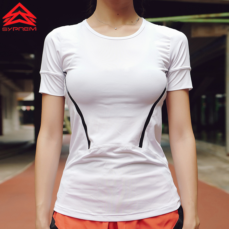 Syprem Yoga Reflective Stripe Top Gym Compression For Womens Sports T-Shirts Running Short Sleeve Fitness Solid Tops T-Shirt