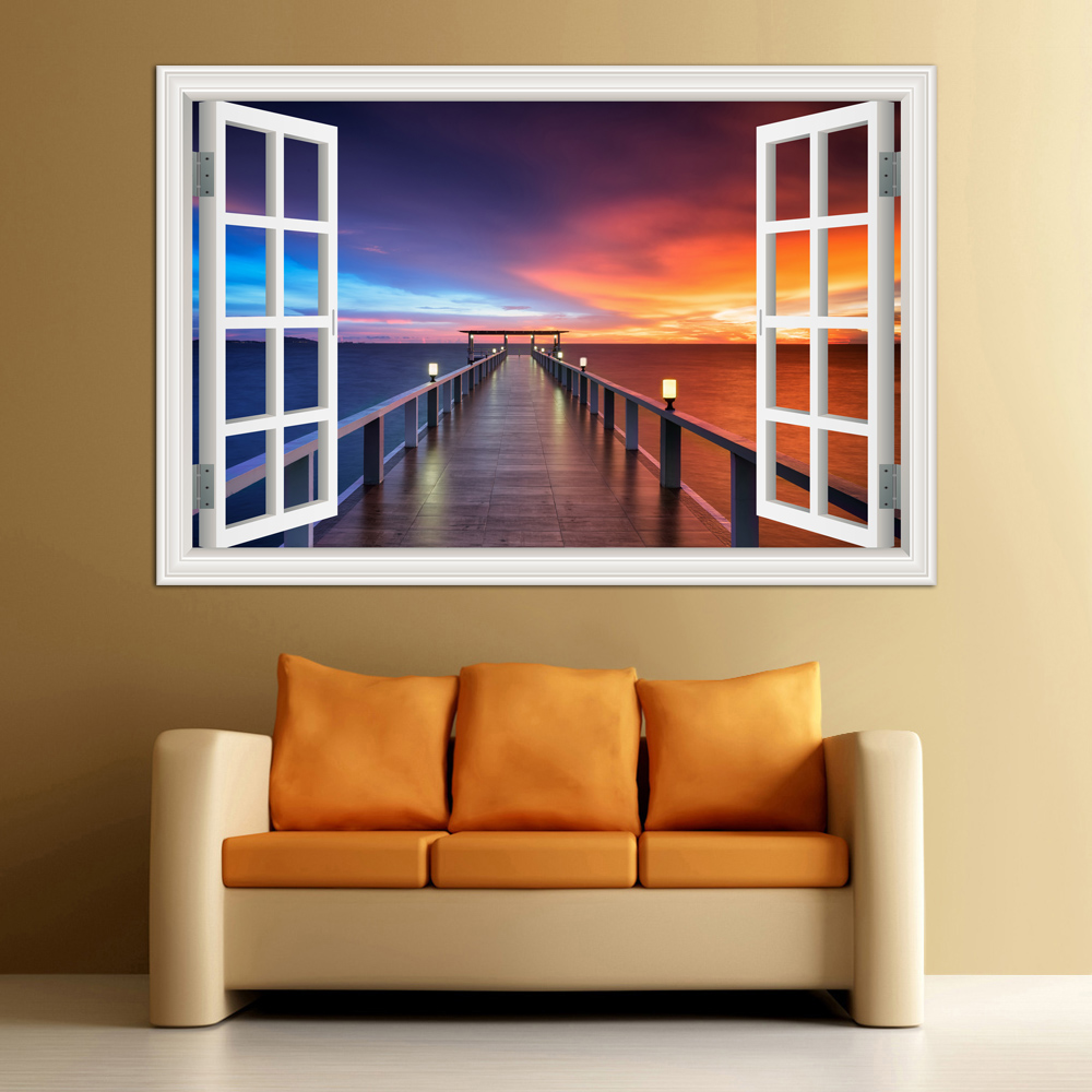 Buy 3d window view wall decal sticker - Cheap wall decals for living room ...