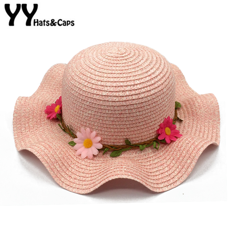 Sunflowers Sunhats for Women Summer Beach CAPS Baby Girls Sun Visor Cap Wave Brim Straw HAT Parent-child Sun Hats Kids YY18078