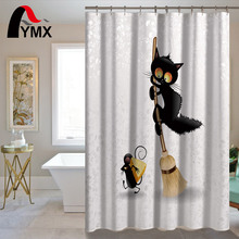 Cute Cartoon Cat Pattern Waterproof Bathroom Shower Polyester Bathroom Curtain With 12 Hooks Wholesale Customized Curtain mermaid sequins waterproof polyester shower curtain with hooks