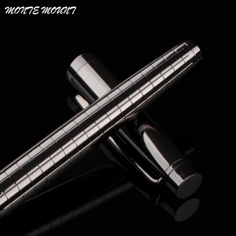 Monte Mount School Office Stationery Supplies Luxury Metal Gray Lattice Roller Ball Pen 0.5mm Metal Ballpoint Pens For Gift