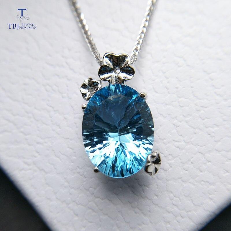 TBJ, pendentif romantique en argent sterling 925 avec topaze bleu ciel nautral collier de pierres précieuses concaves pour femmes avec boîte-cadeau