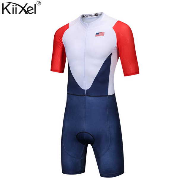 Brand USA Team Cycling Skinsuit Man's Triathlon Speedsuit Jumpsuit Maillot Ciclismo Clothing Racing Skinsuit Full-Zip Trisuit