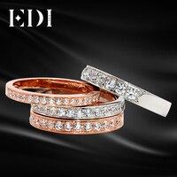 EDI diamond Юбилей кольцо 18 К белого золота 0.16ct/0.26ct/0.36ct/0.5ct натуральным алмаз обручальное для женщин 18 К розовое золото