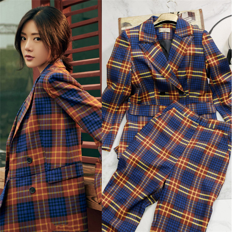 Fall Winter 2019 Stars In The Same Fashion Plaid Suit Jacket Plaid Two-piece Suit 13 Lines of Women Clothing Jackets and Coats