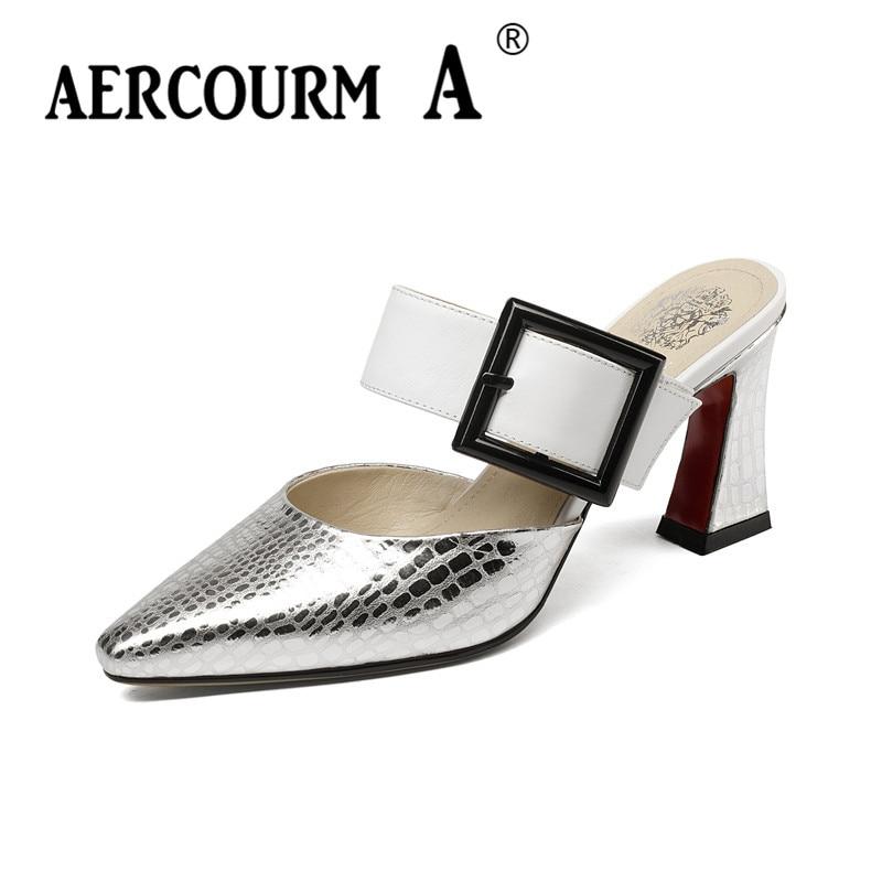 Aercourm A femmes en cuir véritable été pantoufles à talons hauts argent sandales chaussures d'été dame couleurs mélangées métal pointu pantoufles